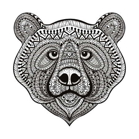 Ilustración de Zentangle stylized Bear face. Hand Drawn doodle vector illustration isolated on white background. Sketch for tattoo or indian makhenda design. - Imagen libre de derechos