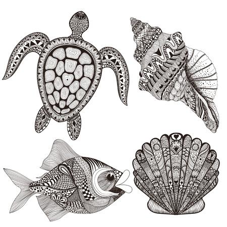 Illustration pour Zentangle stylized black sea shells, fish and turtle. Hand Drawn  doodle vector illustration. Sketch for tattoo or makhenda. Seal collection. Ocean life set. - image libre de droit