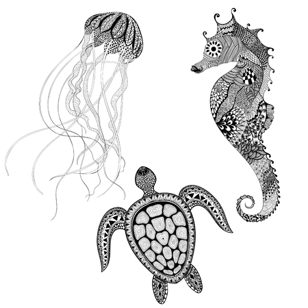 Illustration pour Zentangle stylized black turtle, sea horse and jellyfish. Hand Drawn aquatic doodle vector illustration. Sketch for tattoo or makhenda. Animal set sea collection. Ocean life. - image libre de droit