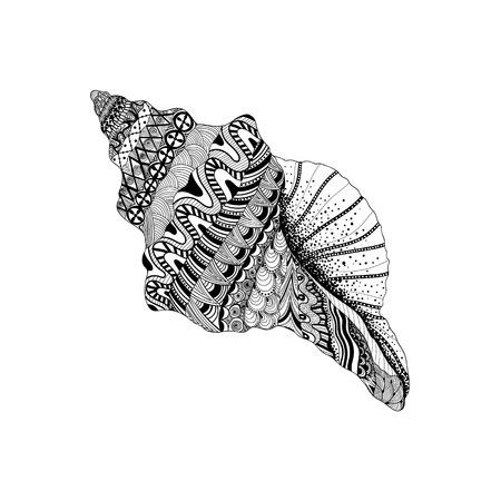 Zentangle stylized black sea cockleshell. Hand Drawn aquatic doodle vector illustration. Sketch for tattoo or makhenda. Seashell collection. Ocean life.