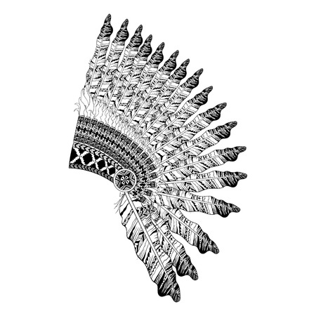 Illustration for Feathered War bannet in zentangle style, Headdress for Indian Chief. American boho spirit. Hand drawn sketch vector illustration for tattoos. - Royalty Free Image