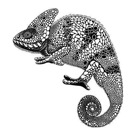 Illustration pour Zentangle stylized Chameleon. Hand Drawn Reptile vector illustration  in doodle style. Sketch for tattoo or makhenda. Animal collection. - image libre de droit
