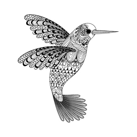 Illustration for Zentangle stylized black Hummingbird. Hand Drawn vector illustration isolated on white background. Sketch for tattoo or makhenda. Bird collection. - Royalty Free Image