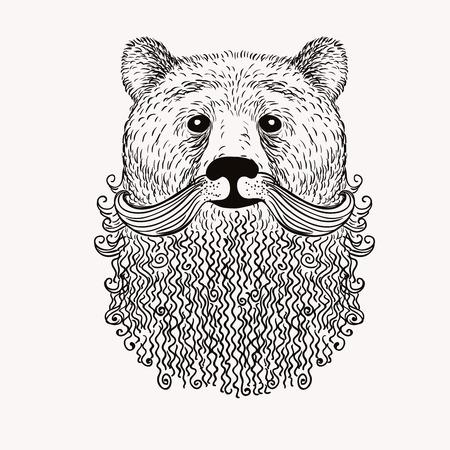 Ilustración de Sketch Bear with a beard. Hand drawn vector  illustration. Doodle style. - Imagen libre de derechos
