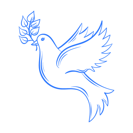 Illustration pour Vector Dove. Hand drawn Dove of Peace illustration, dove with olive branch. Hand drawn artistically decorative flying dove. Postcard for international peace day. Pigeon bird. - image libre de droit