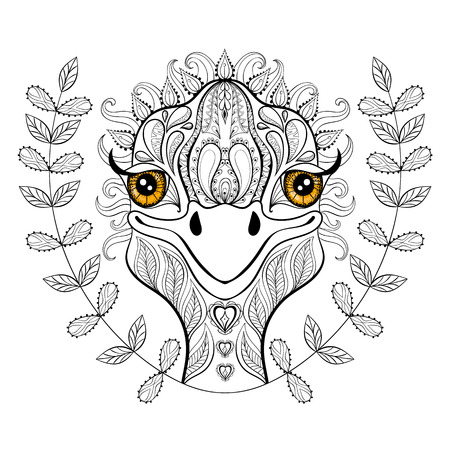Vector ostrich for adult coloring page. Hand drawn funny ...