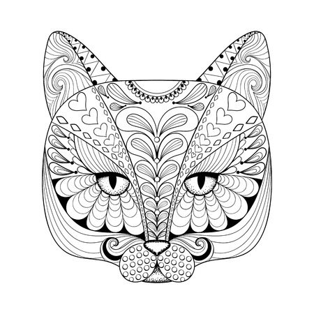 Vector zentangle cat print for adult coloring page. Hand ...
