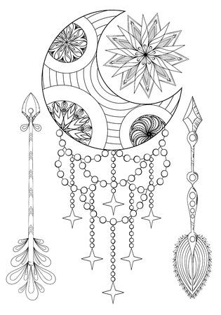 0314dd59966e4 Bohemian Moon and Sun with Arrows. Hand drawn Bohemian Moon and Sun with  Arrows.