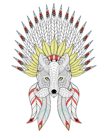 Illustration for Vector Fox with War Bonnet and mustache. American headdress with color feathers for adult coloring pages, ethnic patterned t-shirt print, tattoo design. Boho chic style. Doodle Illustration. - Royalty Free Image