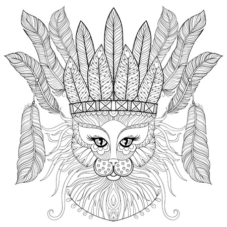 Illustration for Zentangle Cat with indian war bonnet, bird feathers for adult antistress coloring pages, books, art therapy. Ornament artistic vector illustration for tattoo, t-shirt print. - Royalty Free Image