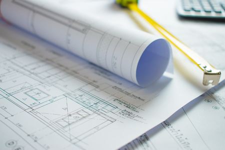 Foto per Home blueprint on the architect's desk. - Immagine Royalty Free
