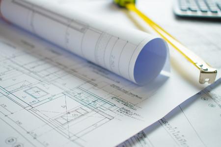 Photo pour Home blueprint on the architect's desk. - image libre de droit