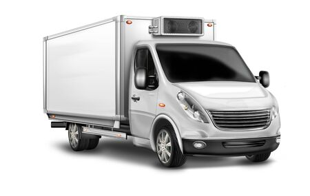 Photo for Vans, panel vans with cooling unit white, isolated - Royalty Free Image
