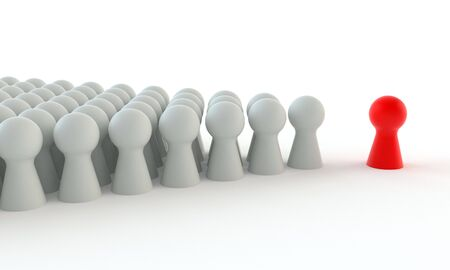 Photo pour Red game figure in front of a group of white figures isolated on white background - image libre de droit