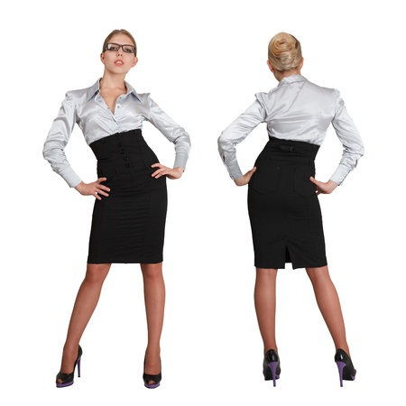 Two businesswoman in formal wear - front and rear view composed over white background