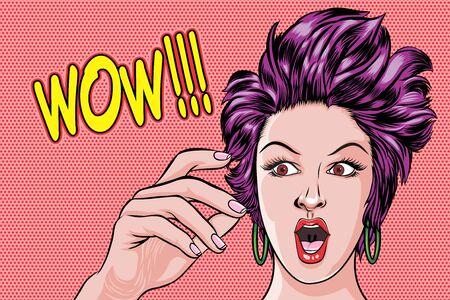 Ilustración de Surprised woman face and saying WOW Pop Art Retro Vector Illustration - Imagen libre de derechos
