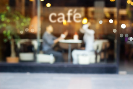 Photo for Abstract people in coffee shop and text cafe in front of mirror, soft and blur concept - Royalty Free Image