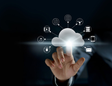 Foto de Cloud computing, futuristic display technology connectivity concept - Imagen libre de derechos
