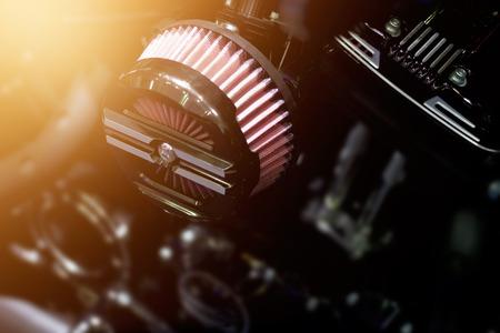 Photo pour Close up air filter carburettor motorcycle on dark background - image libre de droit