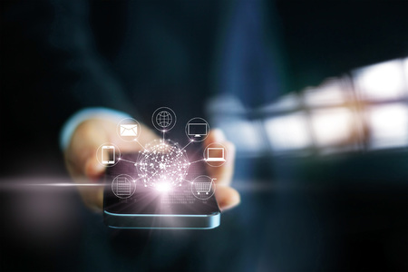 Photo pour Man using mobile payments, holding circle global and icon customer network connection, Omni Channel - image libre de droit