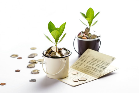 Young plant growing in glasses jars of coins account passbook, saving money, investment and financial concept