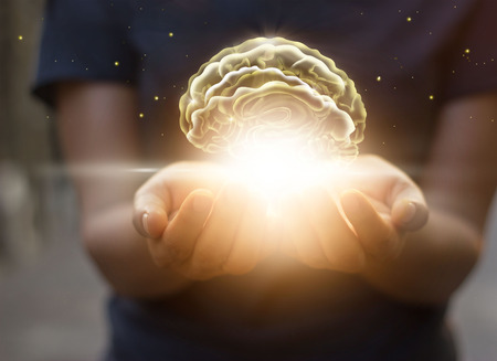 Photo for Palm care and protect virtual brain, innovative technology in science and medical concept - Royalty Free Image