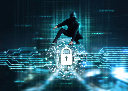 Photo pour Cyber Attack concept, Cyber crime hacker on circle global network with lock icon and shield inside, a code digital on dark background - image libre de droit