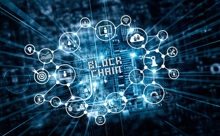 Foto de Blockchain technology and network concept. Block chain text and icon network connection on motherboard microcircuit fast speed background - Imagen libre de derechos