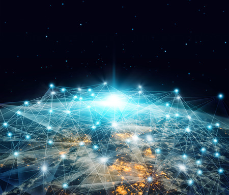 Foto de Network and data exchange. Global networking business and telecommunication  connected over planet earth in space 3D rendering. - Imagen libre de derechos