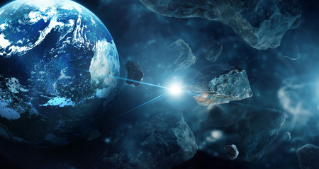 Meteorites in deep space planets. Asteroids in distant solar system. Science fiction concept.