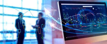 Foto de Investing and stock market gain and profits with graph charts, diagrams, growth, financial figures and investor business - Imagen libre de derechos