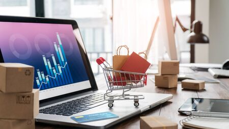 Foto de Shopping bags in shopping cart and credit card on laptop with paper boxes on table and sales data economic growth graph on screen - Imagen libre de derechos