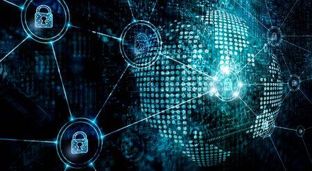 Foto de Cybersecurity on global network, information technology security services on internet, - Imagen libre de derechos