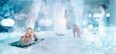Photo pour Medicine doctor analysis electronic medical record on interface display. DNA. Digital healthcare and network connection on hologram modern virtual screen, innovative, medical technology and network concept. - image libre de droit