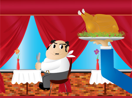 funny hungry fat man waiting for some chicken(vector, CMYK)