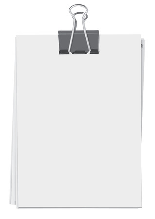 Binder clip and stack of paper sheets