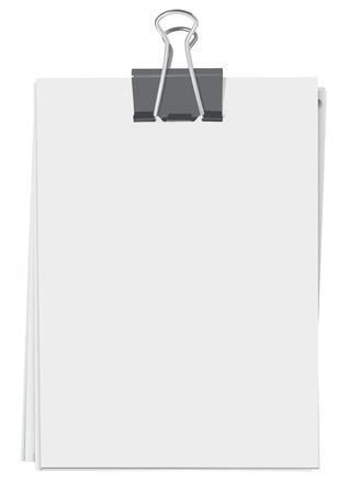 Illustration pour Binder clip and stack of paper sheets - image libre de droit