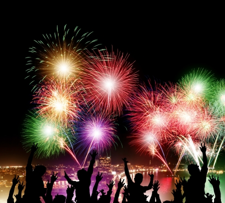 Night view and firework with happy people at Pattaya city, Thailand