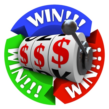 The word Win repeated on several circular arrows around a slot machine whose wheels are lined up in dollar signs symbolizing a jackpot or big winnings