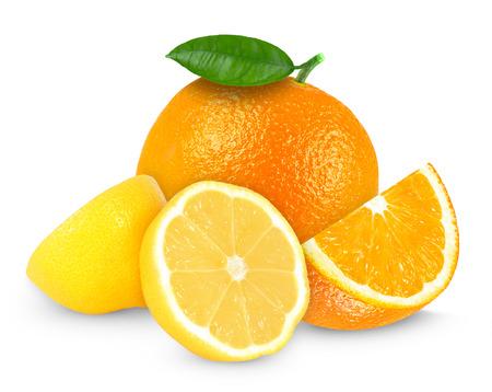 Photo pour fresh lemon and orange isolated on white - image libre de droit
