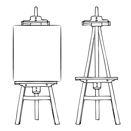 Illustration for Wooden painting easel with blank canvas. Cartoon black white sketch style easel isolated on white background. Easel with vertical canvas and empty easel. Vector illustration stock vector - Royalty Free Image