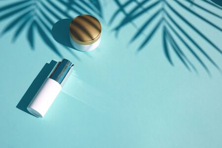 Photo pour Cosmetic natural products on a pastel blue background with tropical palm leaf. Notebook for inscription. Flat lay. Concept of skin care products with SPF solar protection - image libre de droit