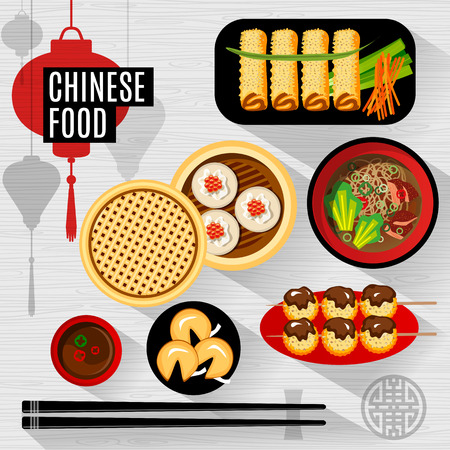 Illustration pour Set of flat, isolated elements chinese food. Chinese food box, plate, chopsticks, top view, silhouette lantern. - image libre de droit