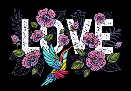 Illustration for Embroidery Hummingbird, Love, palm tree leaves, flowers tropical art patch. Fashionable embroidery tropical summer background. Template design clothes, t shirt. Hand drawn vector. - Royalty Free Image