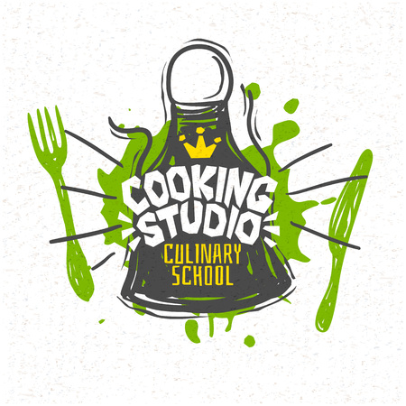 Illustration for Cooking studio, Cooking school culinary classes logo utensils apron, fork, knife, master chef. Lettering, calligraphy logo, sketch style, welcome. Hand drawn vector illustration. - Royalty Free Image