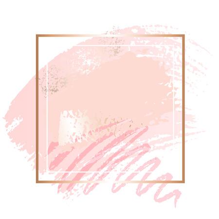 Ilustración de Golden pink nude art frames. - Imagen libre de derechos