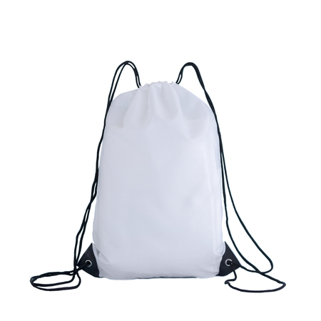 Photo pour White drawstring pack template, bag for sport shoes isolated on white, sport concept - image libre de droit