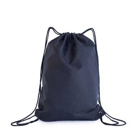 Foto de Black drawstring pack template, bag for sport shoes isolated on white, sport concept - Imagen libre de derechos
