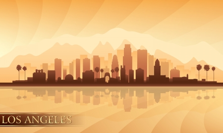 Los Angeles city skyline detailed silhouette