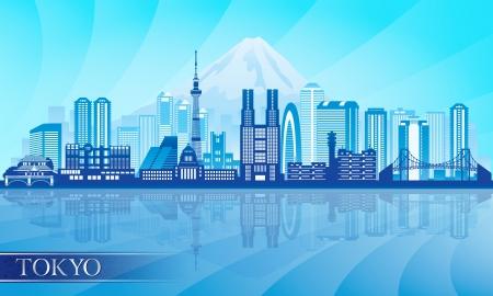 Tokyo city skyline detailed silhouette.